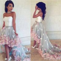 Hi Lo Prom Dresses With Colorful 3d Flowers 2016 Strapless