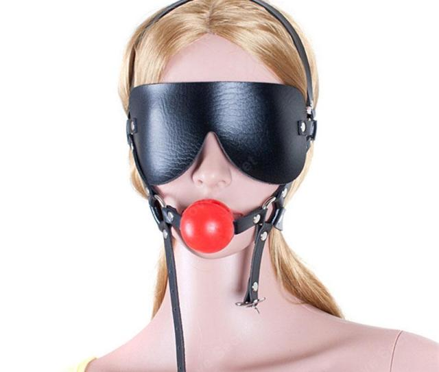 Silicone Ball Gag Pu Leather Open Mouth Gag With Blindfold Head Harness Sex Products In Adult Game Bondage Restraint Sex Toys  Free Multiplayer Online