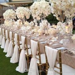 Wedding Chair Covers For Bath Tub Baby 2016 White Chiffon Material Custom Made 1 8 M Length Sashes Decorations Supplies Fabric Seat Dining Chairs