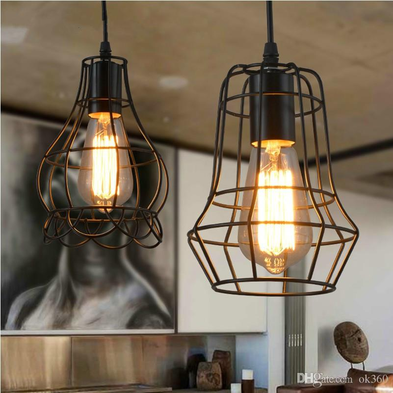 Edison Vintage Lamp Wrought Iron Pendant Lighting Small Iron Cages
