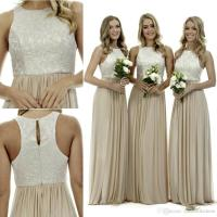 New Cream Halter Lace Bridesmaid Dresses A Line Champagne ...