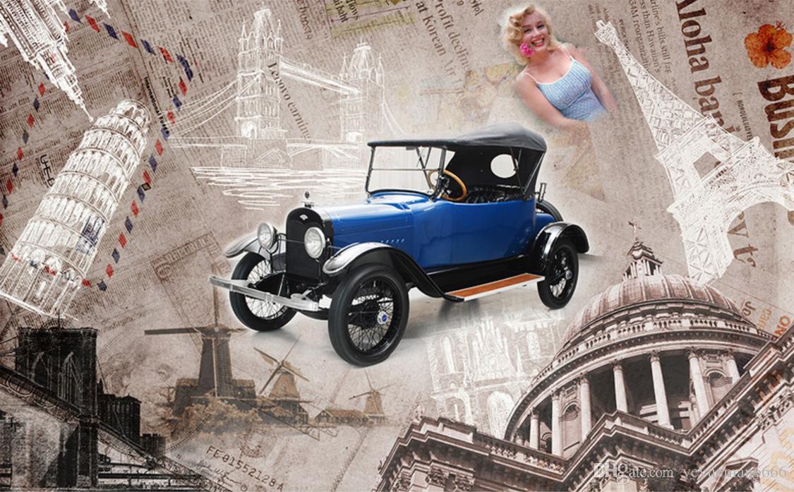 Car Black Car Wash Wallpaper Nostalgic Retro Wall Papers Home Decor Classic Cars Photo