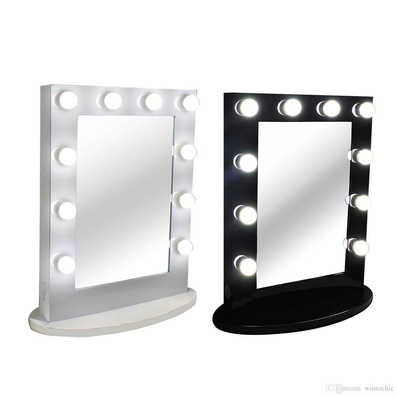 acheter luminaire de table de miroir eclaire de maquillage de table de hollywood avec le gradateur miroir de beaute d etape de cadre en aluminium 12