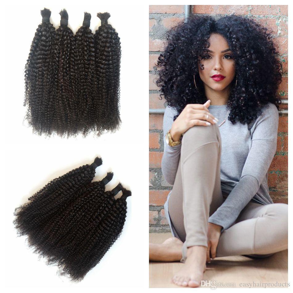 100 Human Hair Braiding Bulk Kinky Curly No Weft Mongolian