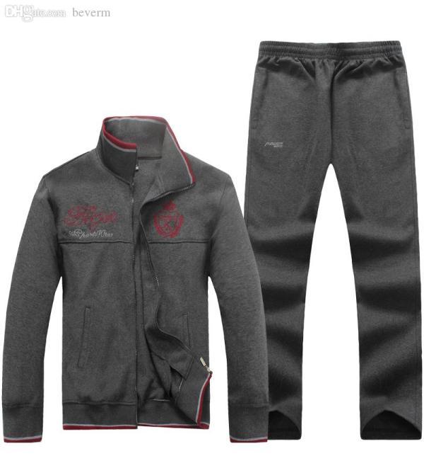 2017 Mens Fleece Tracksuit Jog Suit Warm