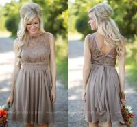 2016 Tan New Country Style Bridesmaid Dresses Jewel Sheer ...
