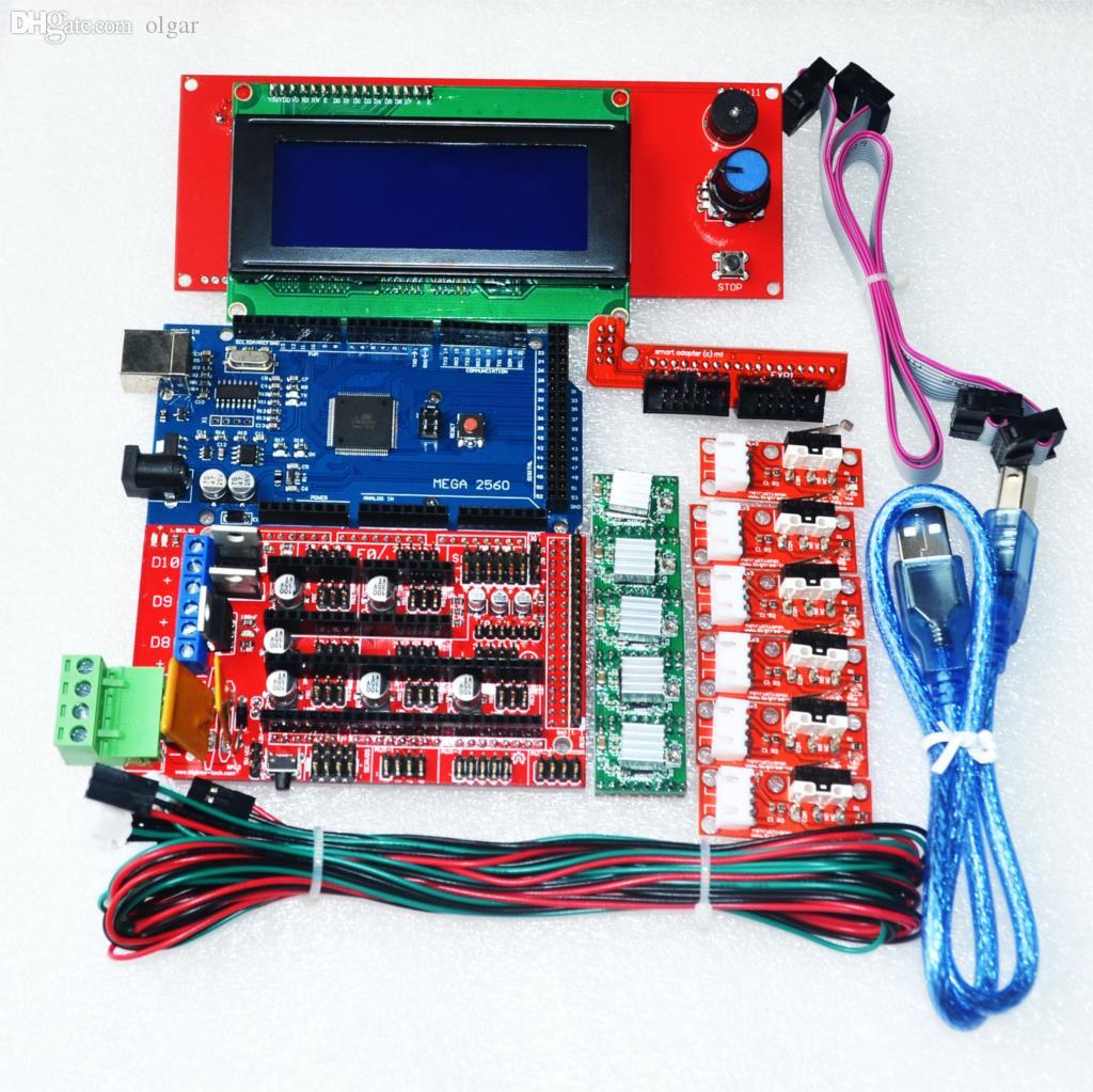 hight resolution of 2019 wholesale cnc 3d printer kit for arduino mega 2560 r3 ramps 1 4 controller lcd 2004 6x limit switch endstop 5 a4988 stepper driver from olgar