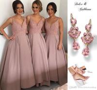 Rose Pink Ankle Length Bridesmaid Dresses V Neck Spaghetti ...