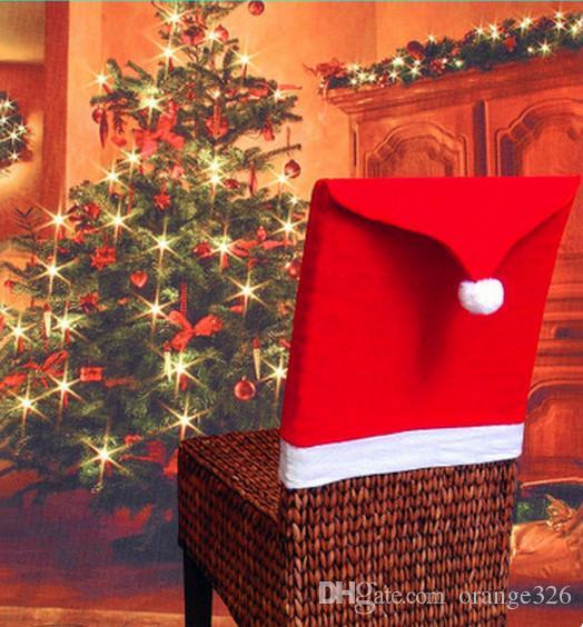 christmas chair covers the range dorm chairs bed bath and beyond santa claus red hat seat cover decoration cheap wholesale decorations tinsel best trendy