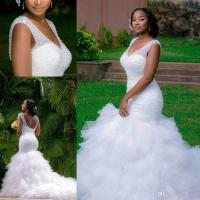 African Style Plus Size Mermaid Wedding Dresses 2017 V