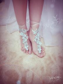 Turquoise Lace Unique Barefoot Sandals Semi Transparent