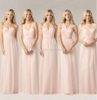 2016 New Styles Simple Design Light Pink Bridesmaid Long ...
