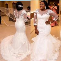African Plus Size Wedding Dresses 2017 Jewel Neck Lace