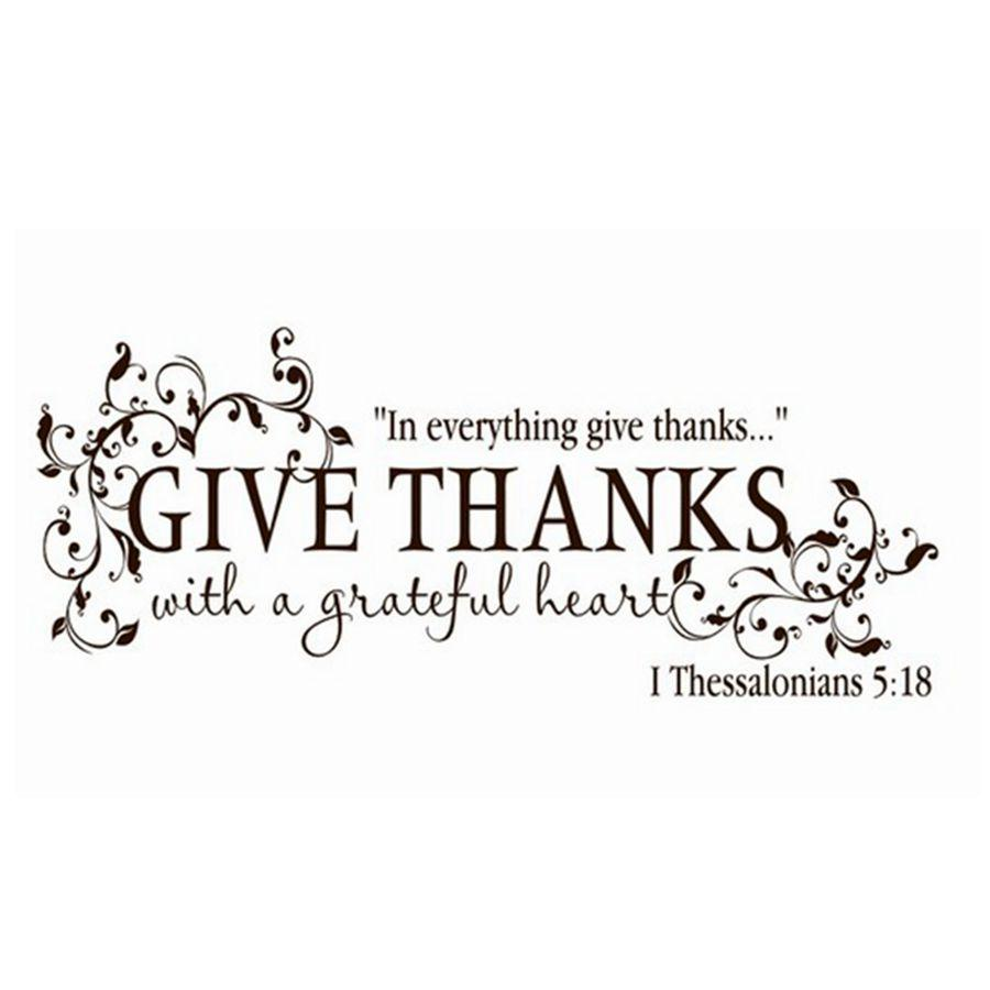 Stickers Green Bible Verse Give Thanks With A Grateful