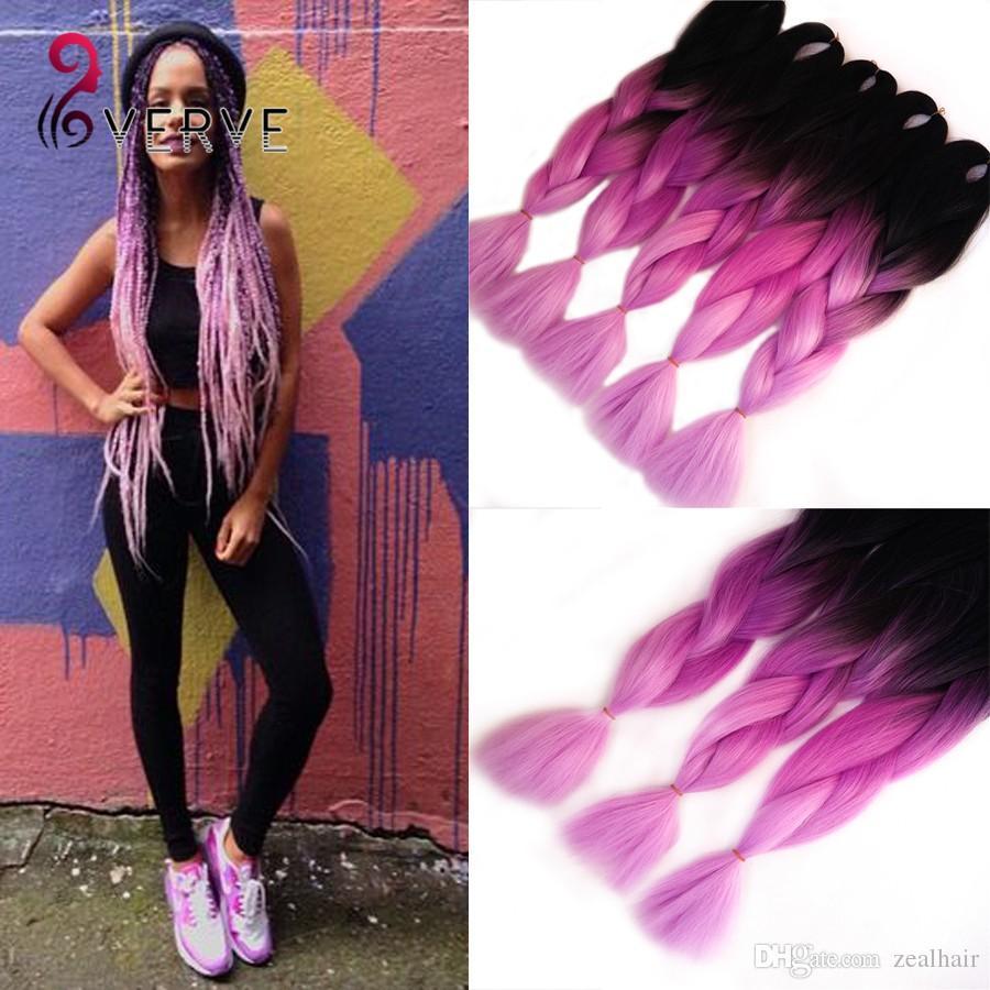 Two Tone Ombre Purple Braiding Hair24Beautiful