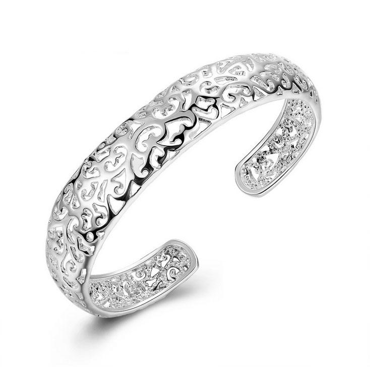 925 Plated Silver Bracelets Women Jewelry Hollow Out