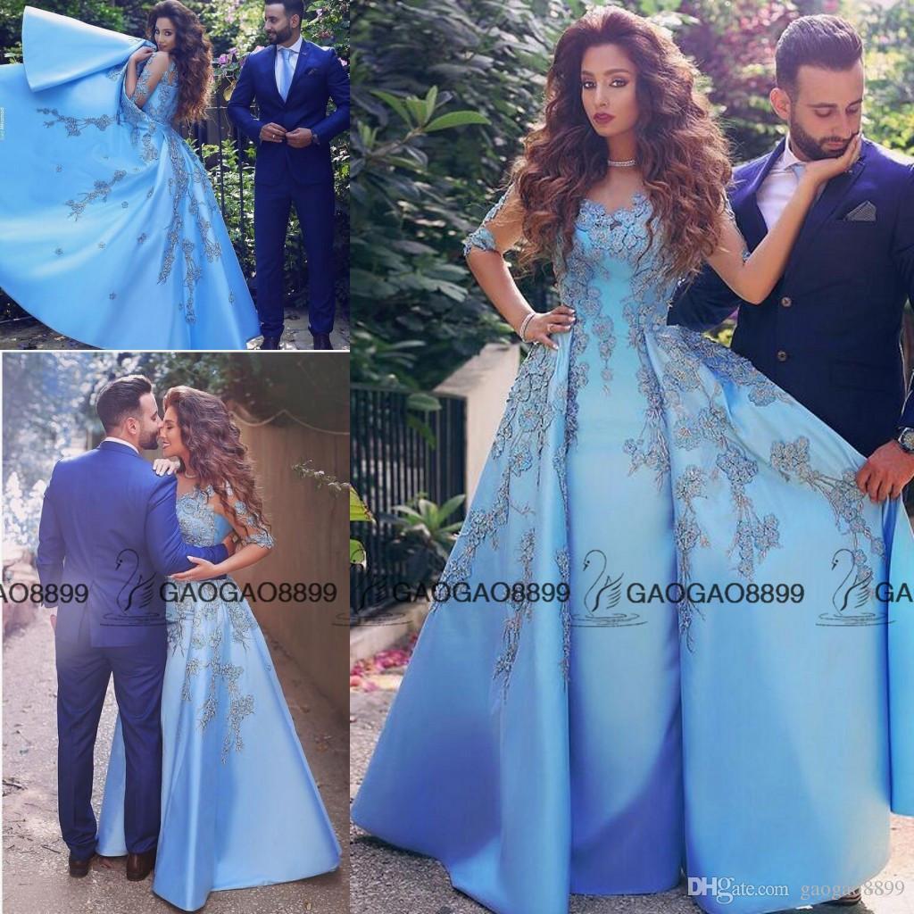 Elegant Baby Blue Prom Dresses 2016 Lace Appliques Half Long Sleeve A Line Satin Arabic Dubai