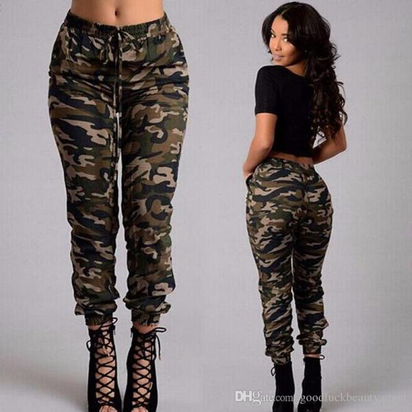 2019 Fashion Army Green Camouflage Pants Size Spring Autumn Women Casual Belt Lacing