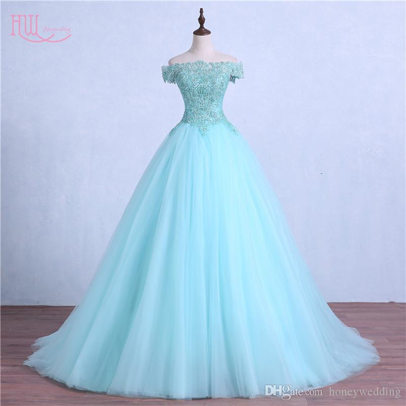 Hot Mint Green Masquerade Prom Dress Ball Gown Off
