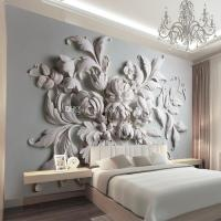 Custom Photo Wallpaper 3D European Embossed Flowers ...