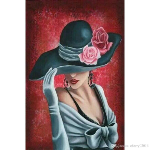 2018 Abstract Art Lady With Rose Hat Hand Painted Oil Paintings Modern Canvas Wall Decor