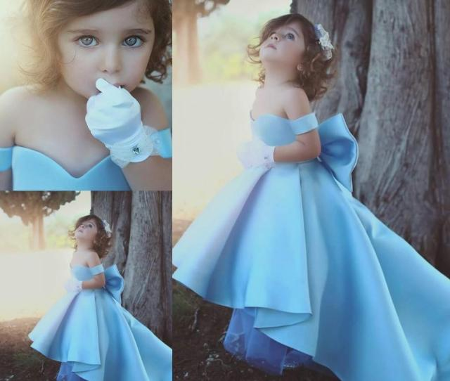 Long High Low Ball Gown Girls Pageant Dresses Light Sky Blue Satin Off The Shoulder Kids Toddler Party Flower Girl Gowns Bow Cheap Pageant Dresses For