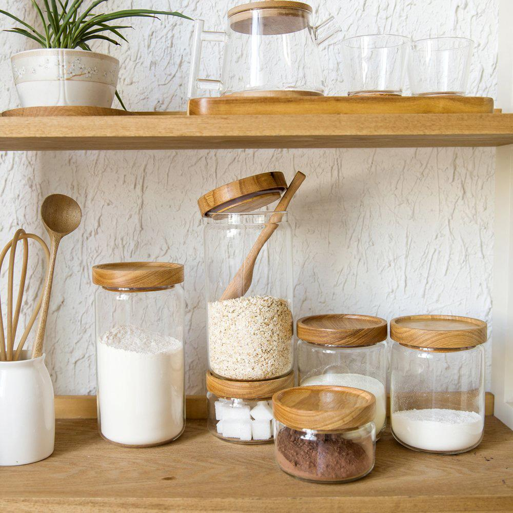 kitchen wholesale in stock cabinets 2019 japan zakka style glass spice jar canisters cookie jars wooden lid spices storage box candy high quality from galry
