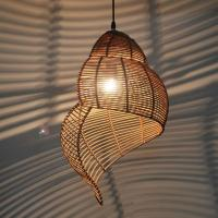 Bamboo Weaving Ceiling Lamp Wood Droplight Conch Pendant ...
