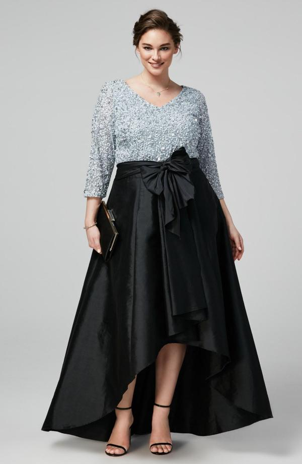 Chic High Sequined Size Prom Dresses Sleeves