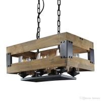 Rustic 6 Lights Kitchen Lamp, Wooden Island Pendant ...