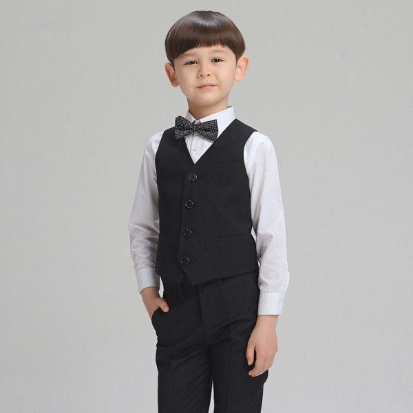 2016 Han Edition Boy Suit Four Piece Ma Jia Black