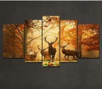 5 Piece Deer Pattern Oil Painting Wall Art Picture Modern ...