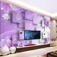 Purple Luxury Custom Modern 3d Wall Murals Silk Waterproof ...