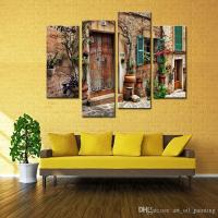 4 Panels Wall Art Spanish Old Town Street Canvas Painting ...