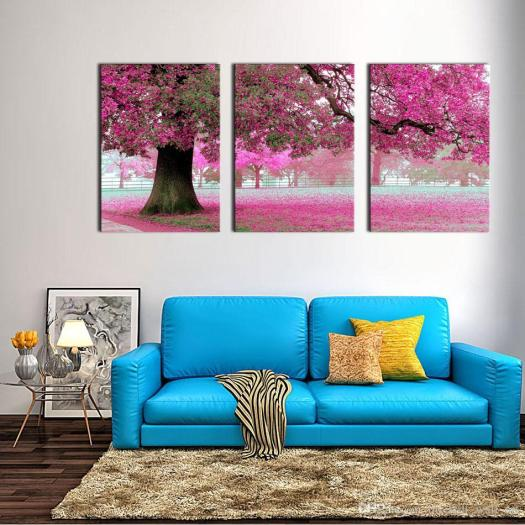 Canvas Print Wall Art Painting For Home Decor Purple Flowers At Tree Panel Artwork The Picture Living Room Decoration From China Paintings Er