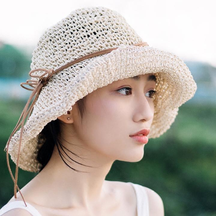 52b97220745 ... Hats For Women Girls Chapeau. Whole 2017 New Raffia Handmade Crochet  Soft Fold Straw Sun. Summer Sun Hat ...