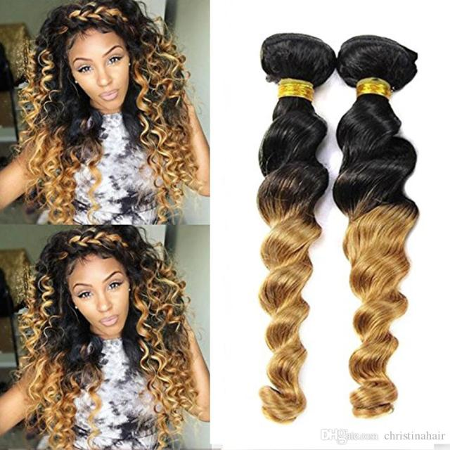 2019 loose wave brazilian hair 3bundles wet and wavy brazilian virgin hair curly weave 2 tone ombre human hair extensions bundles black to blonde from