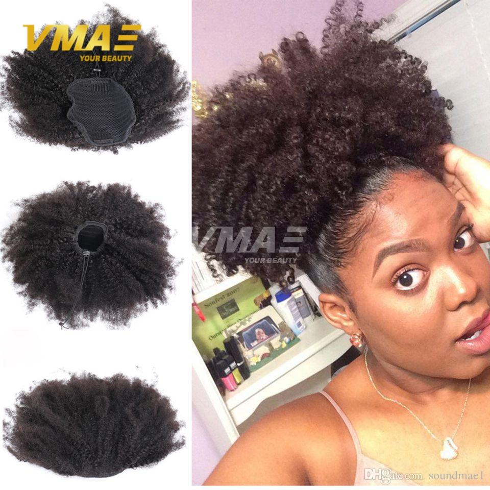 Afro Kinky Curly Brazilian Human Ponytail Hair Natural 4b