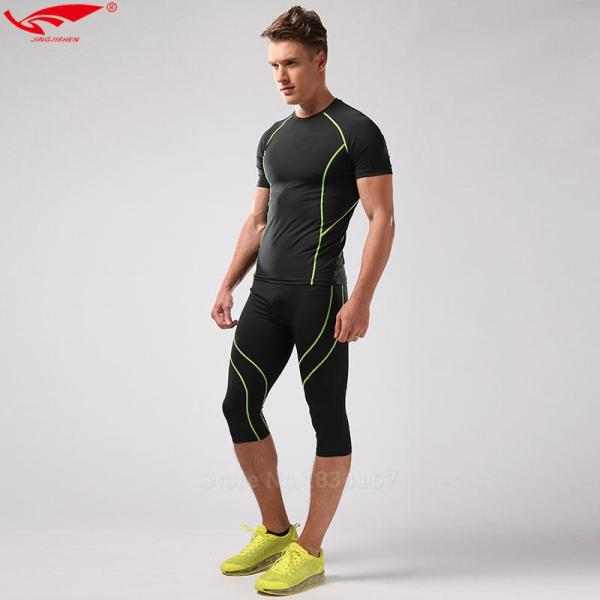 Athletic Compression 3 4 Tights for Men