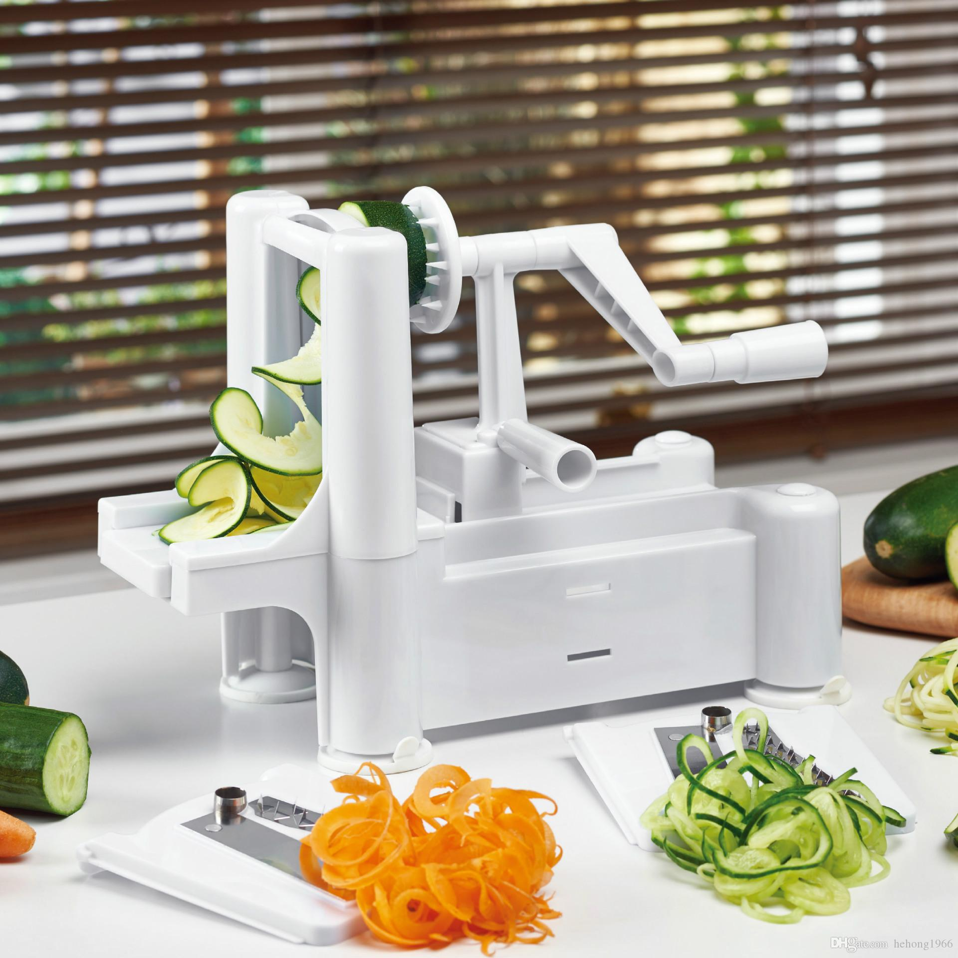 kitchen food slicer pre assembled cabinets online 2019 hand cutting machine spiral vegetable 3 in 1 multi function fruit cutter fashion twister peeler tool 28wa kk from hehong1966