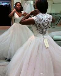 African Wedding Gowns 2017 Sexy Deep V Neck Corset Ball ...