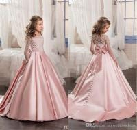 Peach Flower Girl Dresses With Long Sleeves Tutu For Girls ...