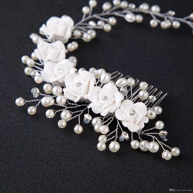 new arrival crystal pearl flower headpiece wedding women hair accessories special occasion bridal hair bands free shipping