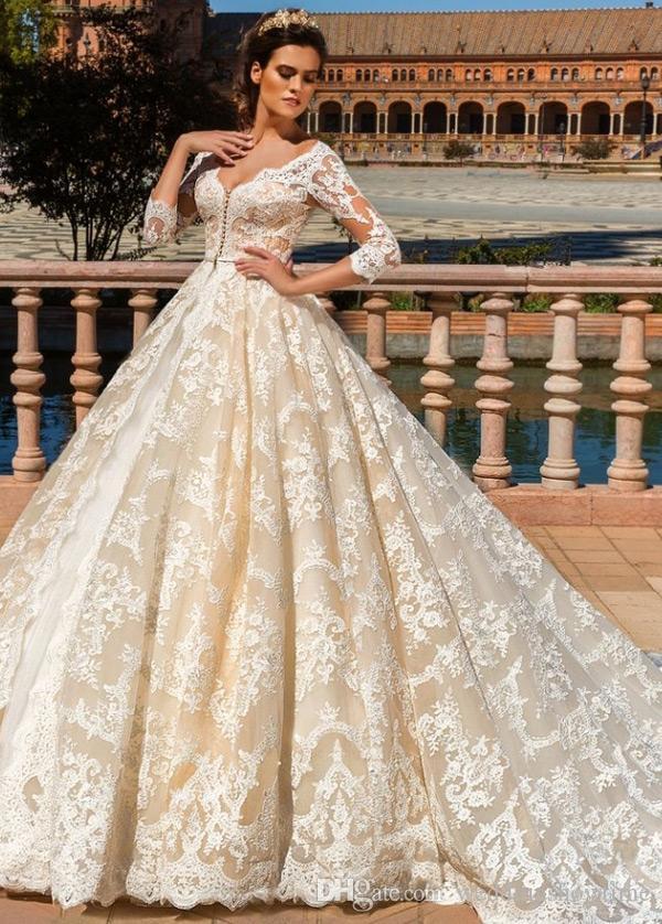 Lavish Champagne Lace Ball Gown Wedding Dresses 2017 Cheap Illusion 34 Long Sleeve Wedding