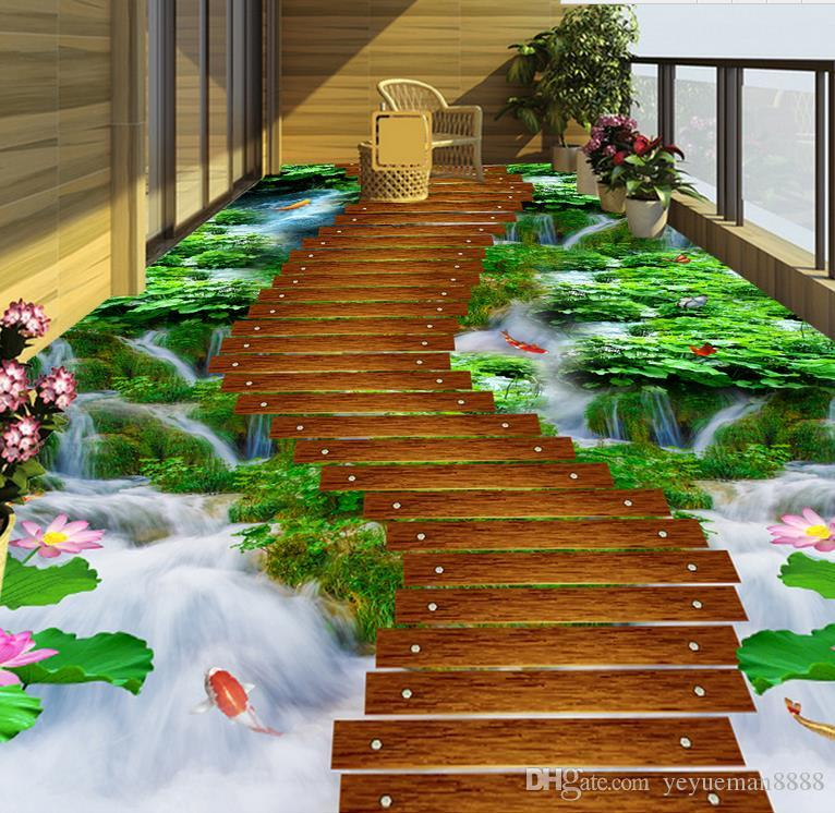 Vinyl Flooring Mural Custom 3d Floor Tiles Grass Creek Wooden Bridge Wall Papers Home Decor 3d