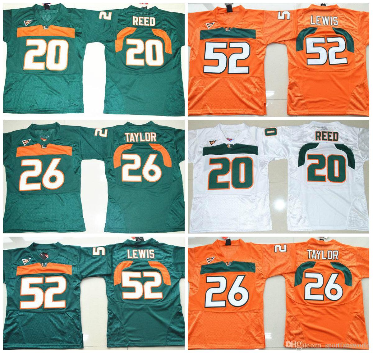 hot sale online 12fa5 137b8 good miami hurricanes 20 reed green jersey 09602 e4c35