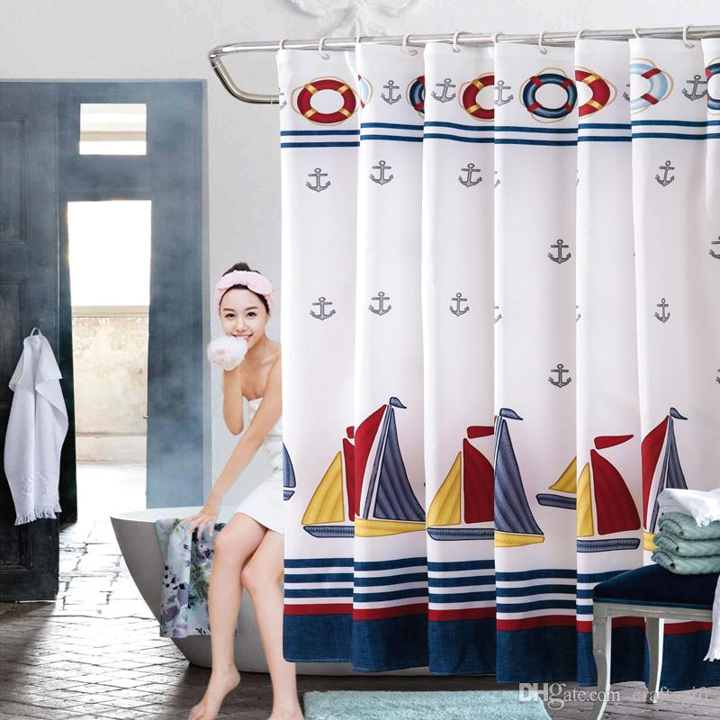2021 sailing boat shower curtains