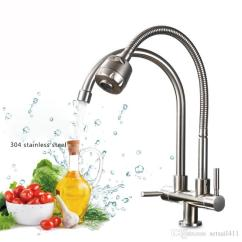 Stainless Steel Kitchen Faucets Replacement Doors For Cabinets 2019 304 Faucet Single Cold Water Tap Universal Tube Double 360 Rotation 2 Outlet Taps From Setsail411