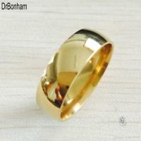 Classic Wide 8mm Men Wedding Gold Rings Real 18K Gold