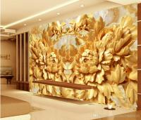 Stereo Wooden Peony House Living Room Background Wall ...